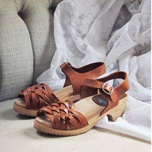 VTG Swedish Leather  Boho  Clog Sandal Sz 39